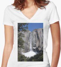 Yosemite upper falls, Yosemite national Park, California USA Women's Fitted V-Neck T-Shirt
