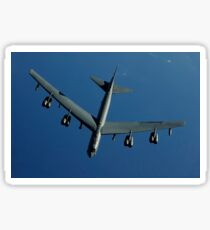 A U.S. Air Force B-52 Stratofortress flies a mission over the Pacific Ocean. Sticker