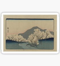 Grove of Cherry Trees - Japanese pre 1915 Woodblock Print Sticker
