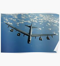 A U.S. Air Force B-52 Stratofortress flies a mission over the Pacific Ocean. Poster
