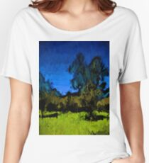Gold Trees in the Blue Wind Women's Relaxed Fit T-Shirt