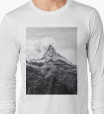 Mountain landscape Black and white Long Sleeve T-Shirt