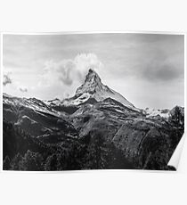 Mountain landscape Black and white Poster