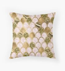 Rose gold marble mermaid scales Throw Pillow