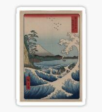 Sea at Satta in Suruga Province - Japanese pre 1915 Woodblock Print Sticker