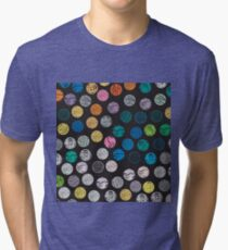 Polka Dot Sketch Pattern Colour Tri-blend T-Shirt