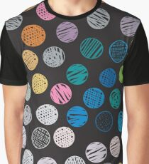 Polka Dot Sketch Pattern Colour Graphic T-Shirt