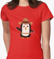 Cowboy Penguin Wild West Rb0s6 Womens Fitted T-Shirt