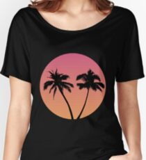 Retro Wave Palm Tree Sunset Women's Relaxed Fit T-Shirt