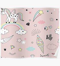 Blush pink sweet unicorn dreams Poster