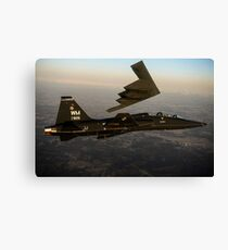 A T-38 Talon flies in formation with a B-2 Spirit. Canvas Print