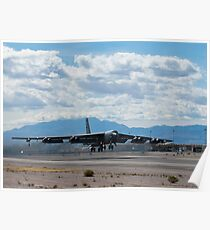 A B-52 Stratofortress takes off from Nellis Air Force Base. Poster