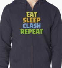 Eat Sleep Clash Repeat Funny Gift Zipped Hoodie