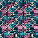 Geo Patchwork in Pink and Blue by Lisann