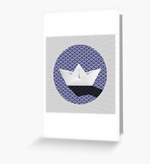 Origami boat japanese pattern Greeting Card