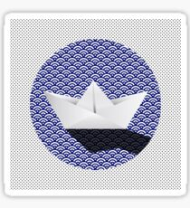 Origami boat japanese pattern Sticker