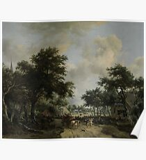 Wooded Landscape with Merrymakers in a Cart, Meindert Hobbema, c. 1665 Poster