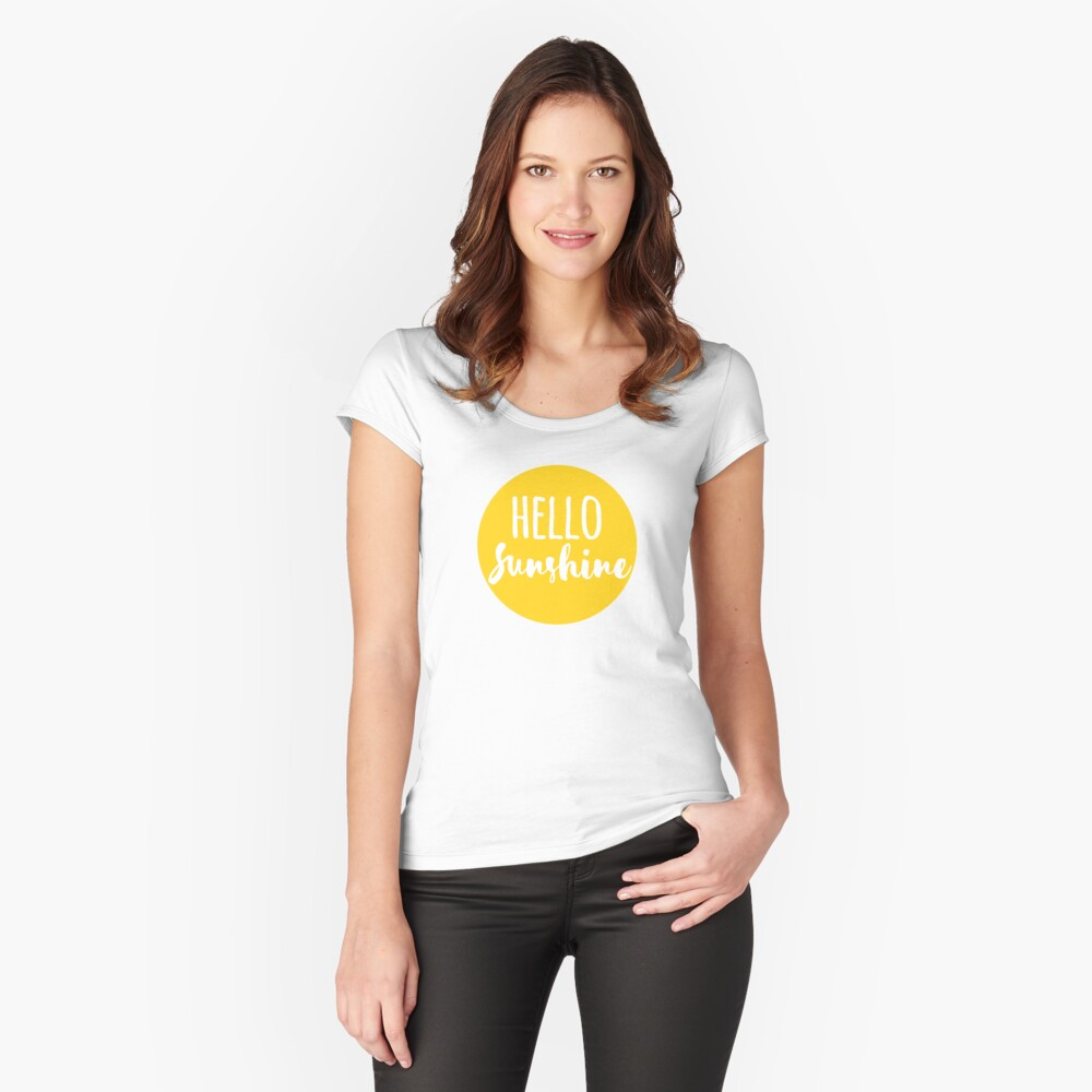 Hola Luz de sol Camiseta entallada de cuello ancho