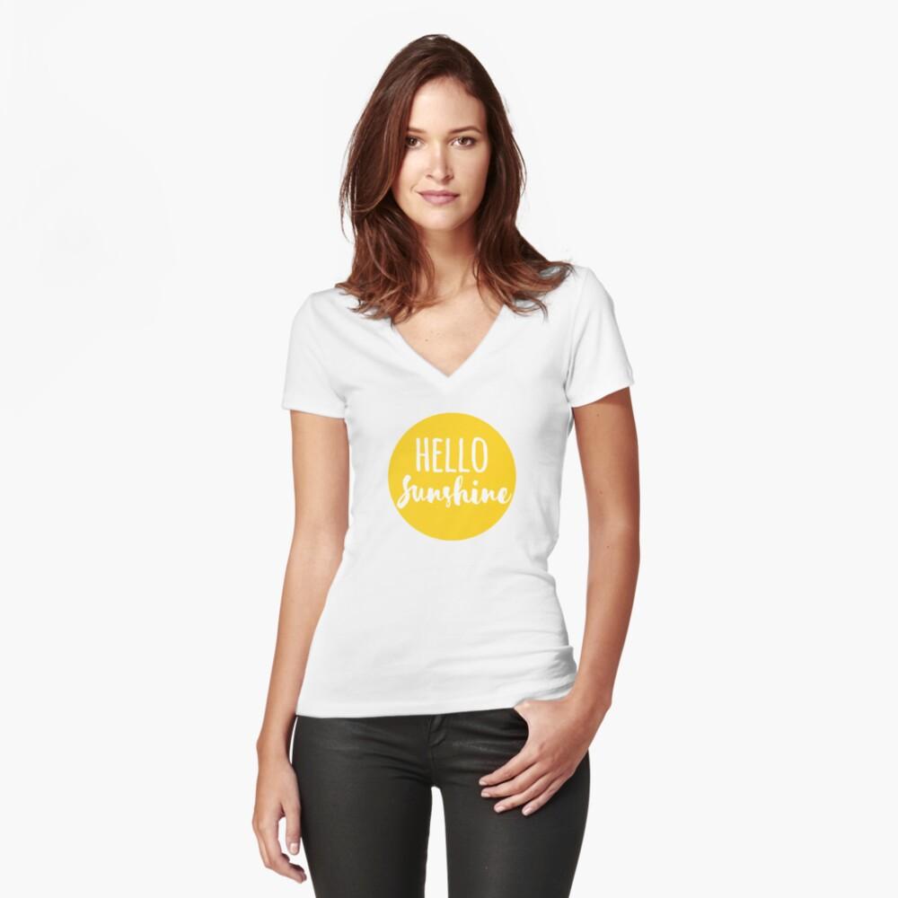 Hola Luz de sol Camiseta entallada de cuello en V