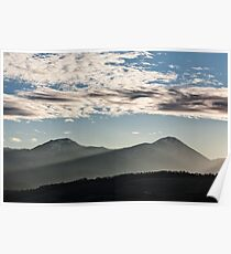 Sunset in the mountains with sunny beams Poster