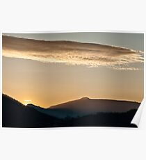 Sunset in the mountain landscape Poster