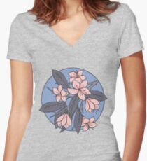 Sakura Branch Pattern - Rose Quartz + Serenity Women's Fitted V-Neck T-Shirt