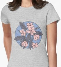 Sakura Branch Pattern - Rose Quartz + Serenity Womens Fitted T-Shirt
