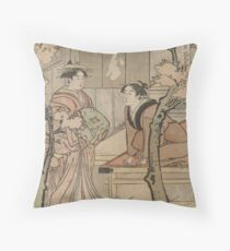 Cherry blossom viewing - Japanese pre 1915 Woodblock Print Throw Pillow