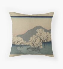 Grove of Cherry Trees - Japanese pre 1915 Woodblock Print Throw Pillow