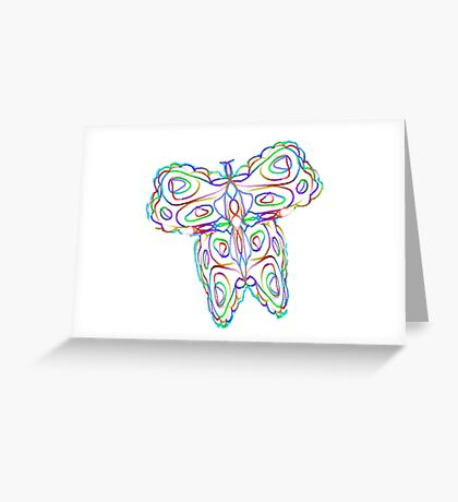 Rainbow Butterfly on White Greeting Card
