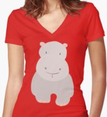 Hippo GRAY Women's Fitted V-Neck T-Shirt