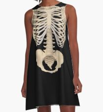 halloween Gothic Anatomy Rib Cage bones human skeleton  A-Line Dress