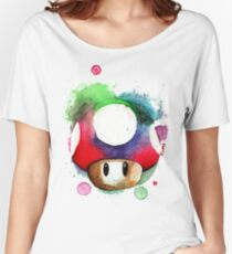 1 UP WATERCOLOR MUSHROOM Design SUPERMARIO Women's Relaxed Fit T-Shirt