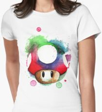 1 UP WATERCOLOR MUSHROOM Design SUPERMARIO Womens Fitted T-Shirt