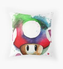 1 UP WATERCOLOR MUSHROOM Design SUPERMARIO Throw Pillow