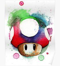 1 UP WATERCOLOR MUSHROOM Design SUPERMARIO Poster