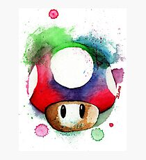 1 UP WATERCOLOR MUSHROOM Design SUPERMARIO Photographic Print