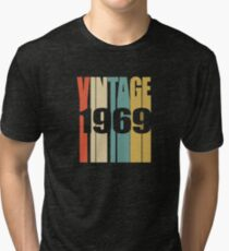 Vintage 1969 Birthday Retro Design Tri-blend T-Shirt