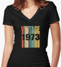 Vintage 1973 Birthday Retro Design Women's Fitted V-Neck T-Shirt