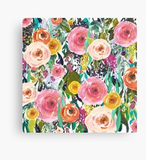 Pretty Watercolor Garden Floral Canvas Print