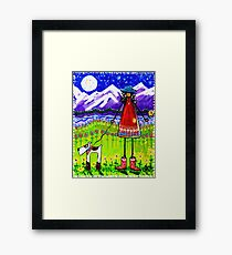Home Rocky Mountains Moon Starry Sky River Flowers Dog Cowgirl Boots  Framed Print