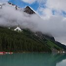 Lake Louise under Cloud Topped Peak by Gerda Grice