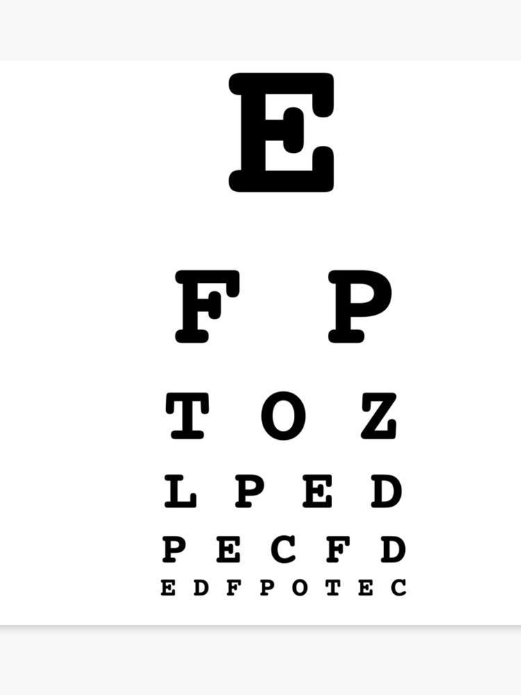 photo about Eye Chart Printable identify Eye Chart Verify - White Canvas Print