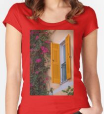 Italy. Cinque Terre. Monterosso. Window. Women's Fitted Scoop T-Shirt
