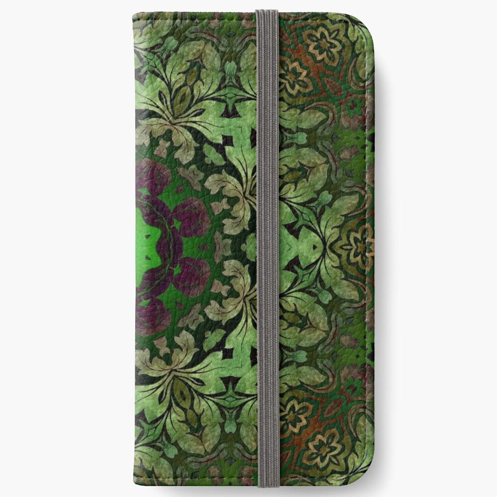 Kunstböhmisches Druckwaldgrün Mandala der Renaissancekunst iPhone Flip-Case