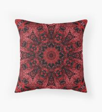 Hipster Ethnic Moroccan floral bohemian mandala burgundy red Throw Pillow