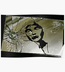 """Ouch"" Gothic Figure in Broken Mirror Art Poster"