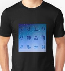 Astro Horoscope Signs in Galaxy Night Sky Unisex T-Shirt