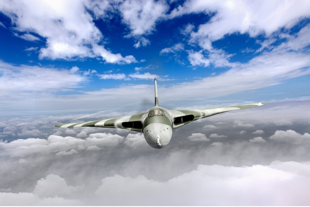 Avro Vulcan head on above clouds by Gary Eason