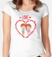 Love romantic t-shirt tee shirt heart boy girl. Women's Fitted Scoop T-Shirt